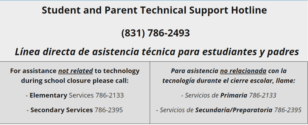 Student and Parent Tech support hotline flyer