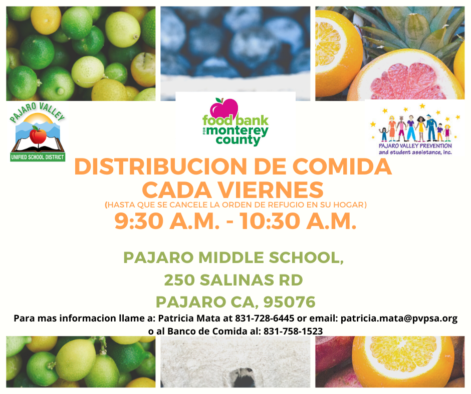 Monterey County food distribution Spanish