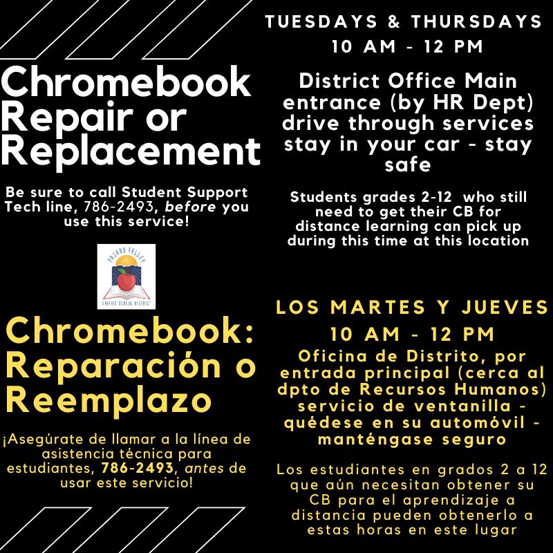 Chromebook repair and replacement flyer